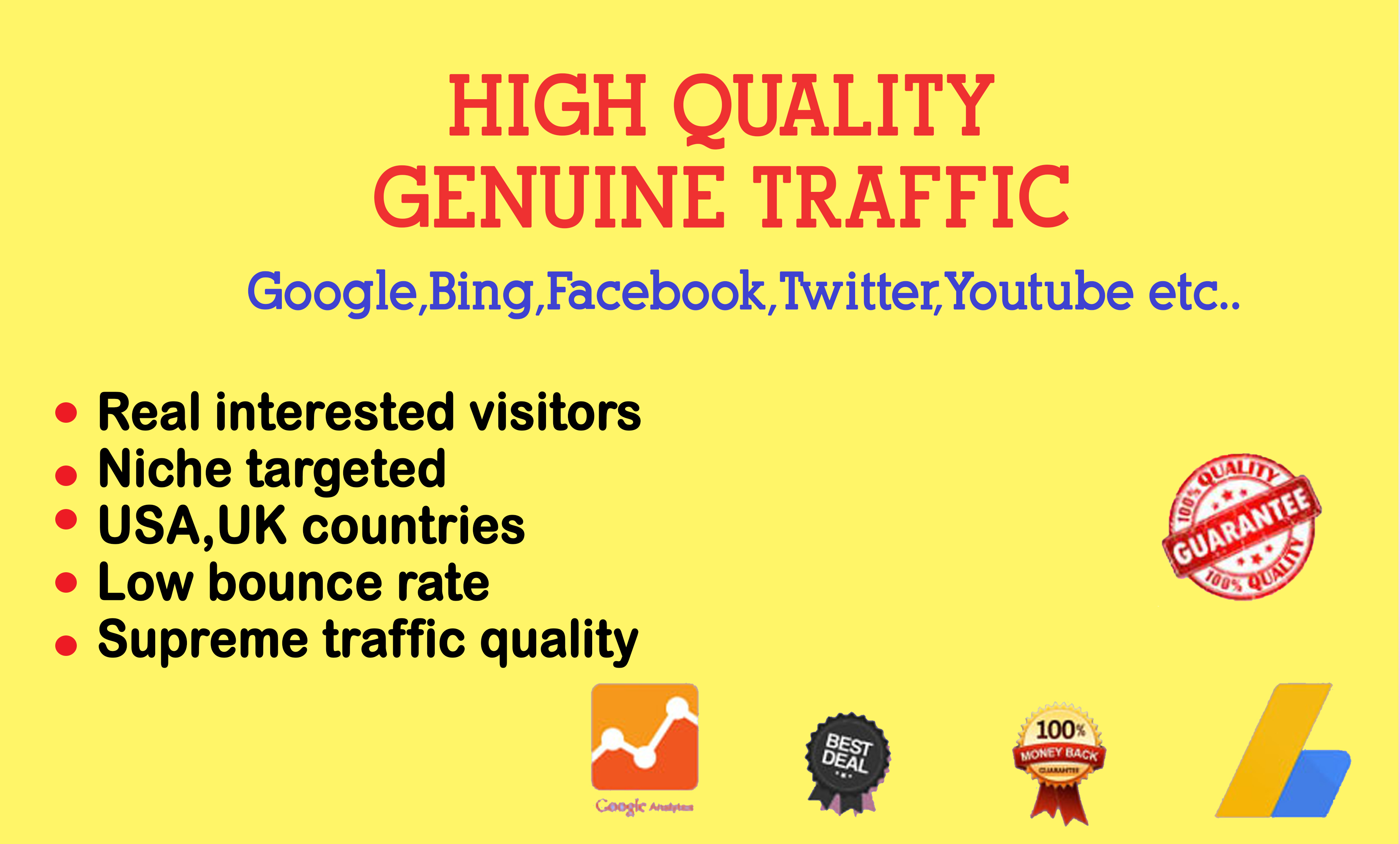 I will all counties targeted daily real visitors to your website