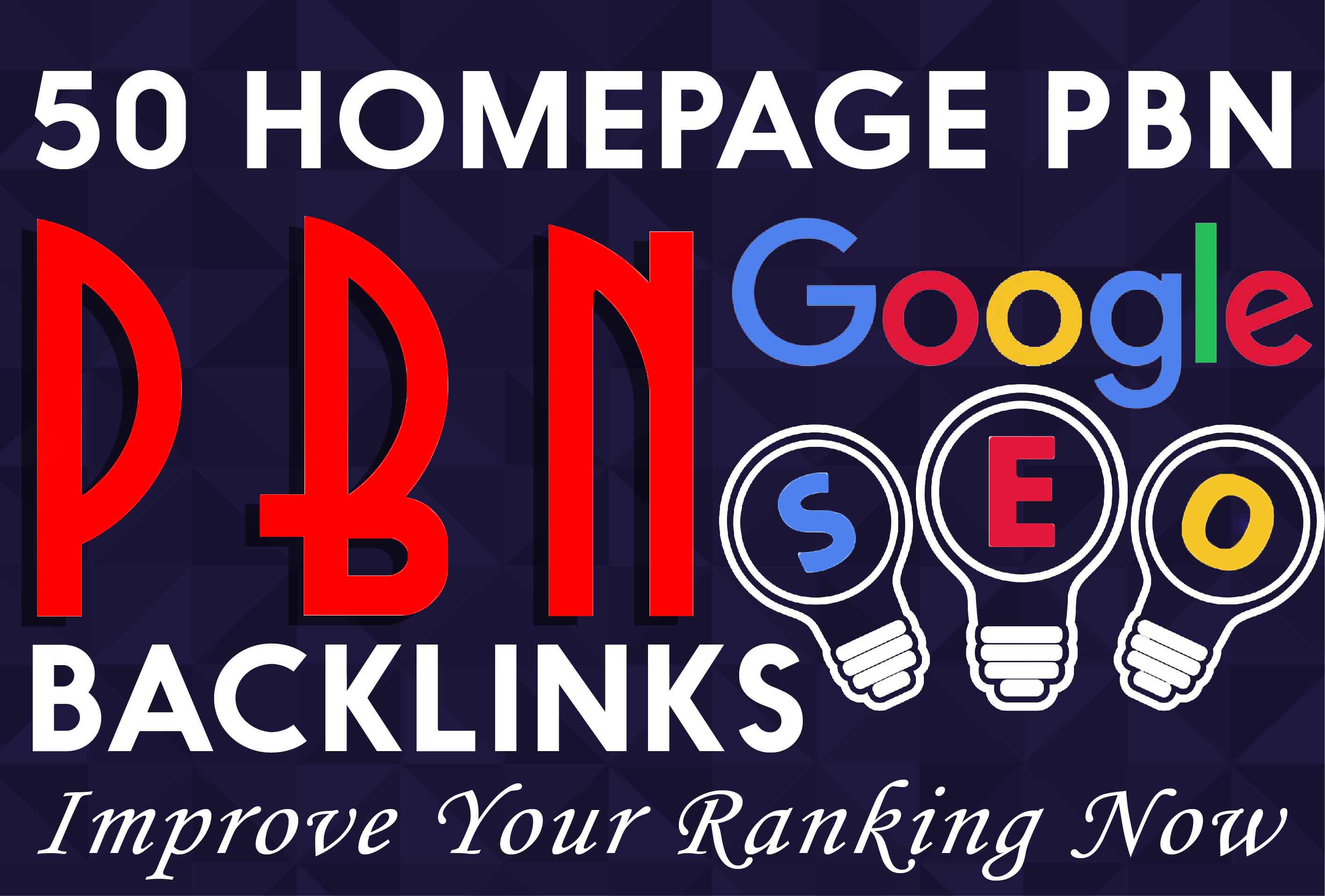 I will 50 powerful seo permanent pbn backlinks high da tf homepage