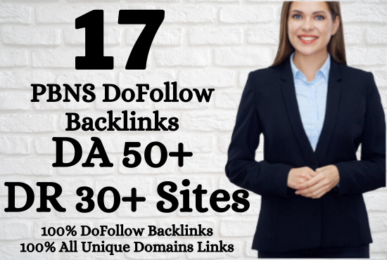I will Build 17 DoFollow Permanent HomePage PBNs Backlinks In DA 50+ and DR 30+ Sites