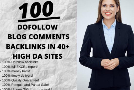 I will create 100 unique domains dofollow blog comments backlinks in 35 to 70+ DA sites