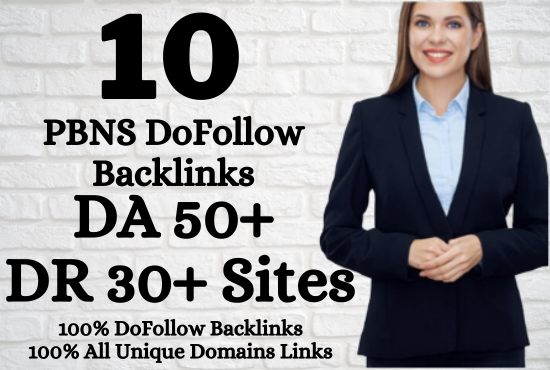 I will Build 10 DoFollow Permanent HomePage PBNs Backlinks In DA 50+ and DR 30+ Sites