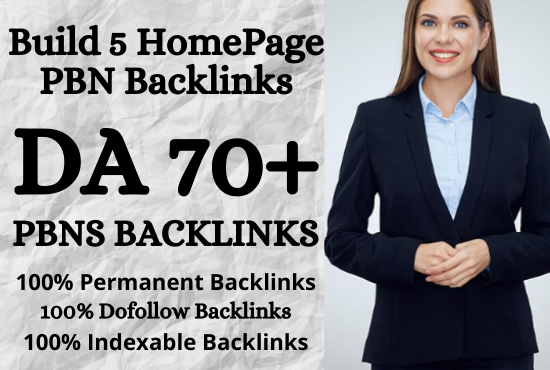 I will build 5 HomePage PBN Posts on DA 70+ sites With Dofollow And permanent Links