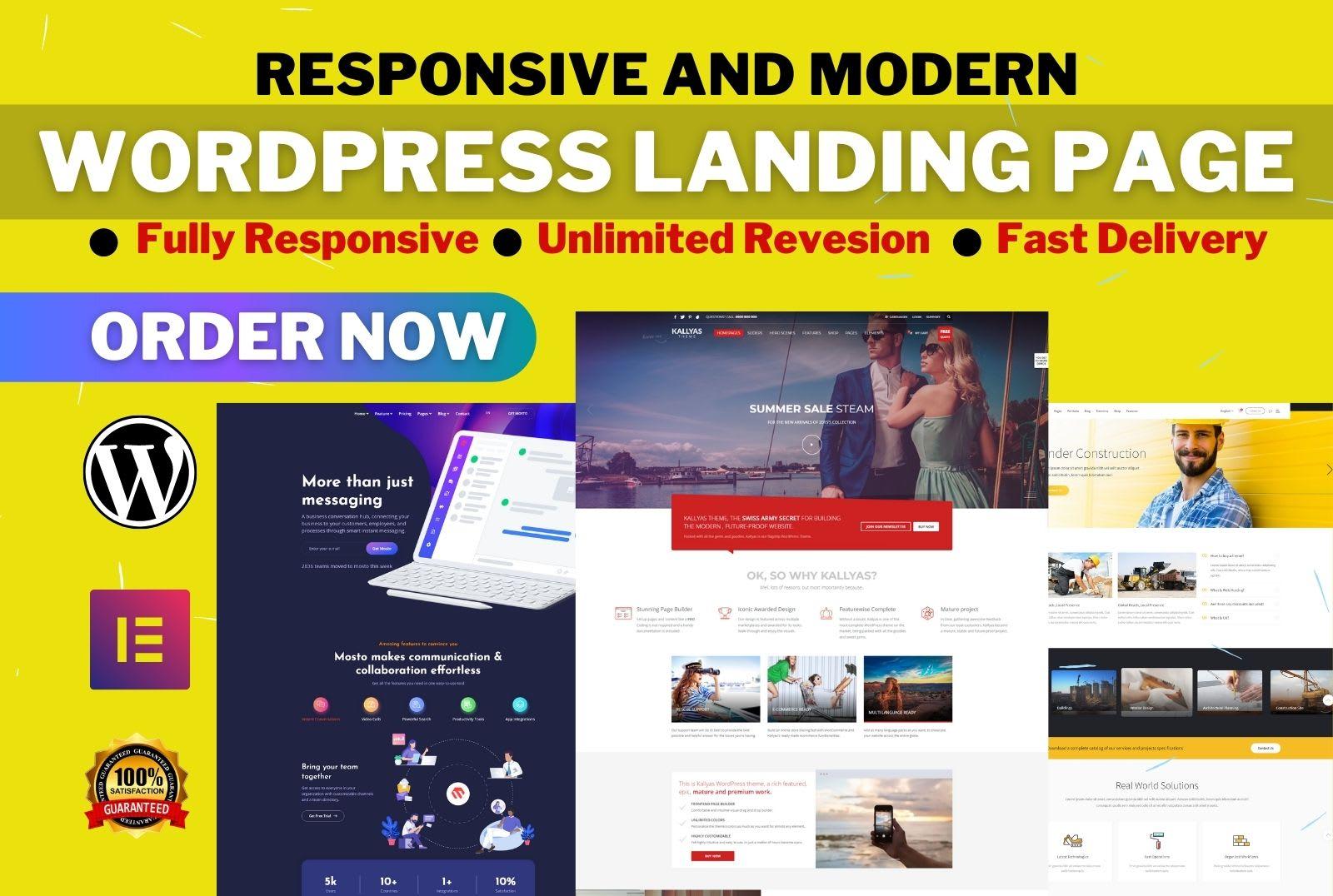 I will Design Responsive WordPress Landing Page or Elementor Landing Page