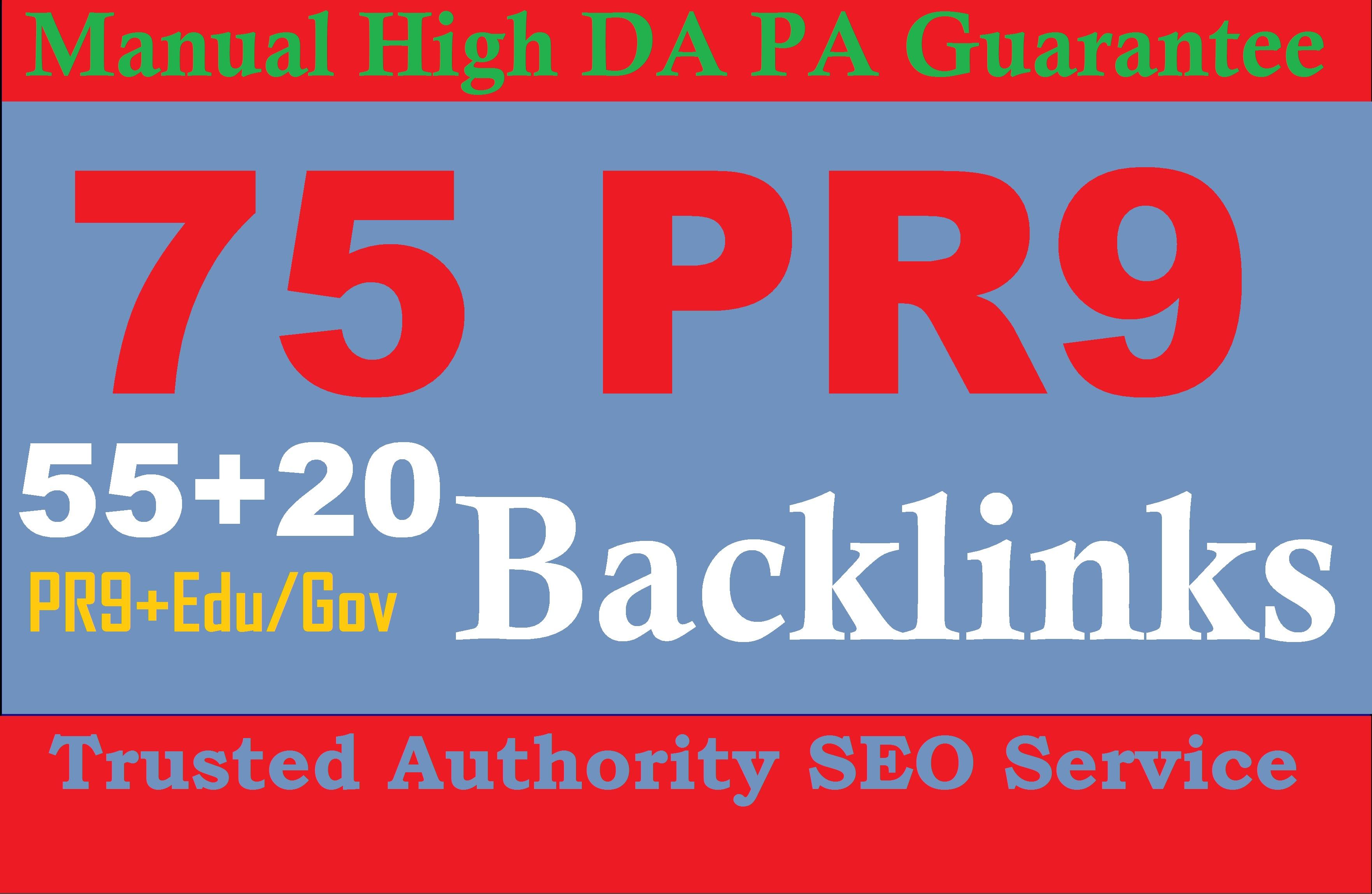 Exclusively 75 Backlinks 55 PR9 +20 EDU/GOV 80+DA Permanent SEO Links Improve Google Ranking