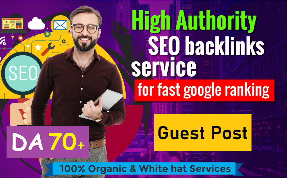 Write & Publish 40 Most Popular High 100-60 DA Authority Domain Site contextual SEO Backlinks