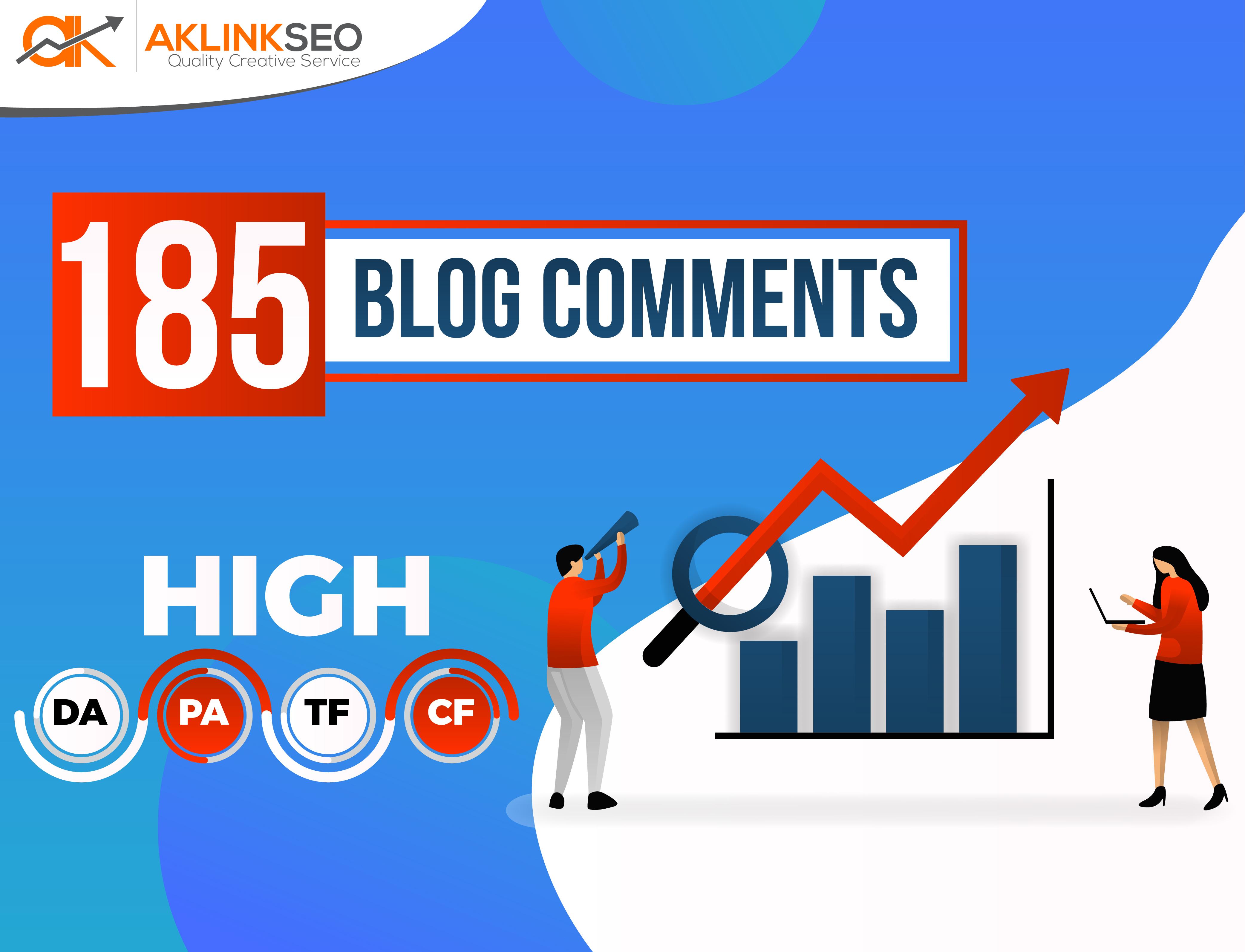 Provide 185 High Quality DA/PA/TF/CF Unique Domain Manually Do-Follow Blog Comments Backlinks