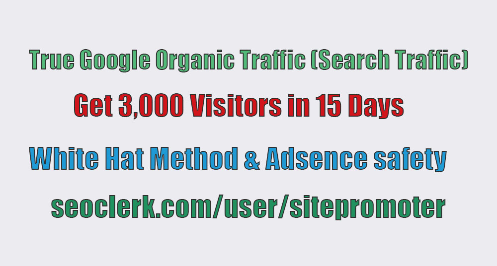 Real organic traffic through google search engine 200+ daily for 15 days