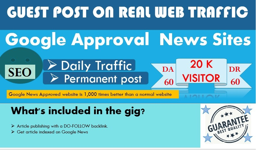 I will do guestpost DR 60+ DA 60+ my google news approvad website