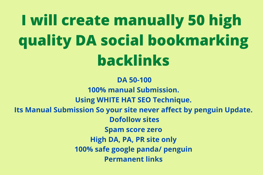 I will create manually high quality DA social bookmarking backlinks