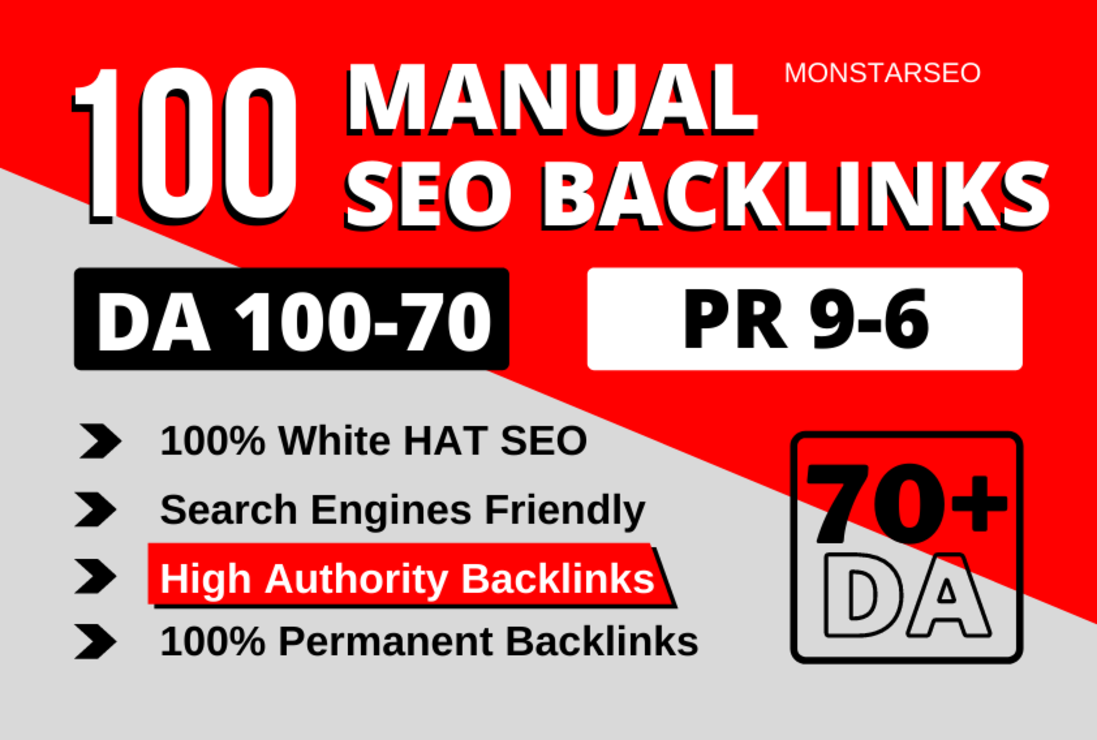 100 High Authority SEO Backlinks white hat manual link building service for google top ranking