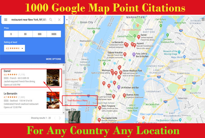 Do 1000 google map point citations with local listings