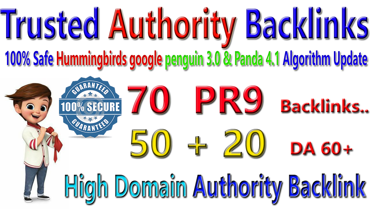 Trusted authourity 70+ DA60 HQ Backlinks for increase google ranking