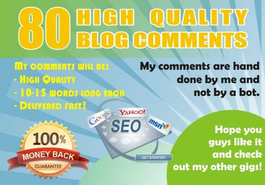 I will do 80 blogcomment with high backlinks in 24 hours