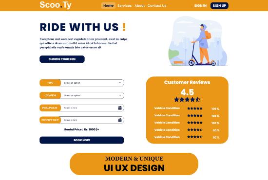 I will do professional,  creative,  unique UI UX website design