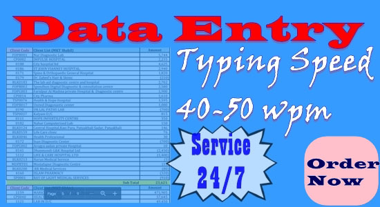 I usually work on any data Including data entry: data collection, excel, MS Word