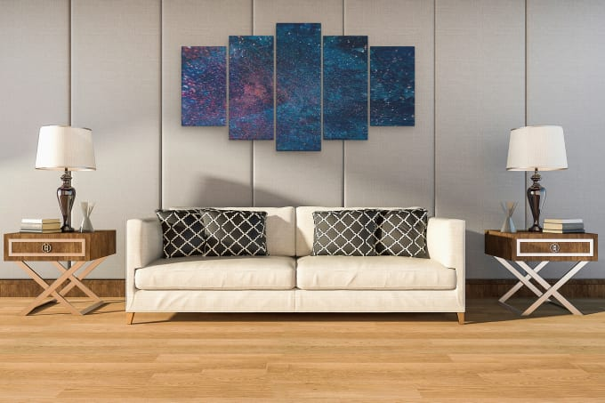 I will create modern and realistic canvas wall art mockups for your wall art design