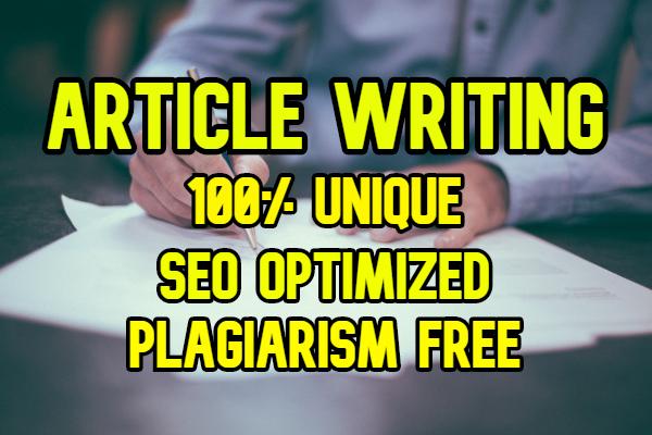 Unique Article Writing Content,  2000 words
