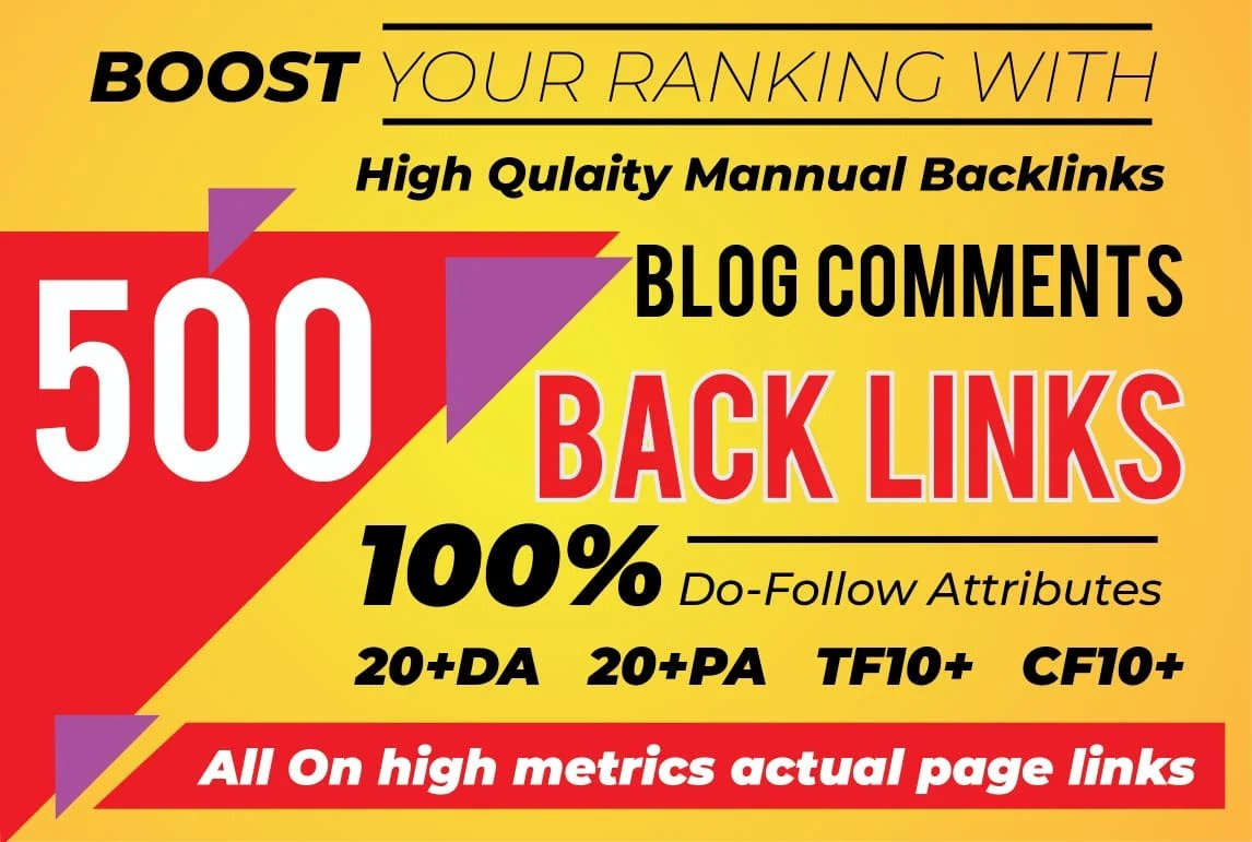I will do 500 blog comments on high DA PA sites dofollow top page ranking on google