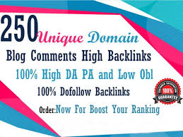 I will do 250 unique domain blog comments dofollow High DA PA low obl backlinks