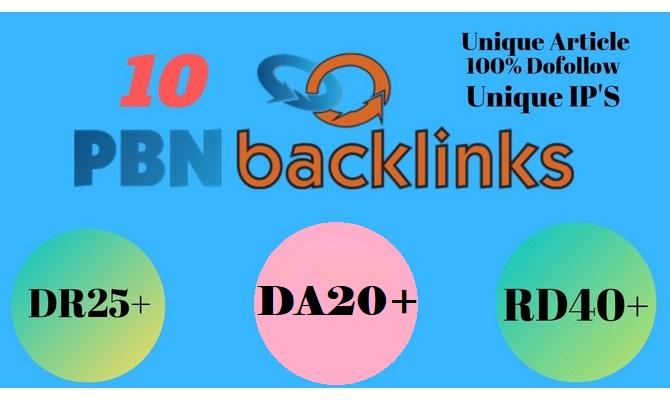 I will do 10 Unique PBN Dofollow DA 20+ parmanent homepage backlinks