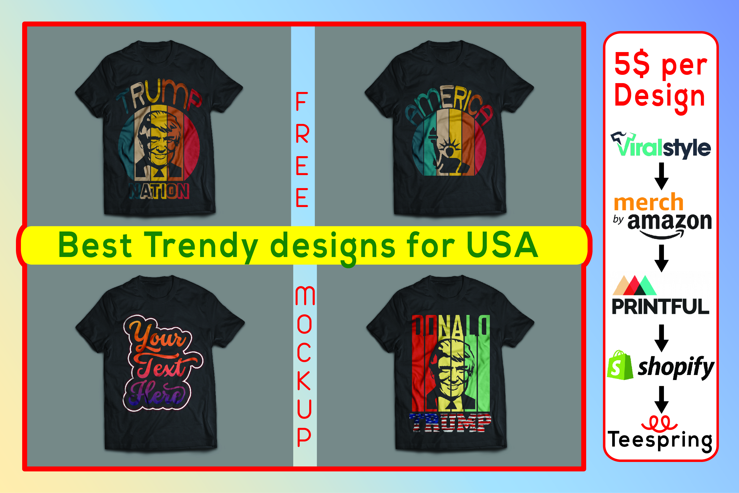 I will design any kind of USA T-shirt Design