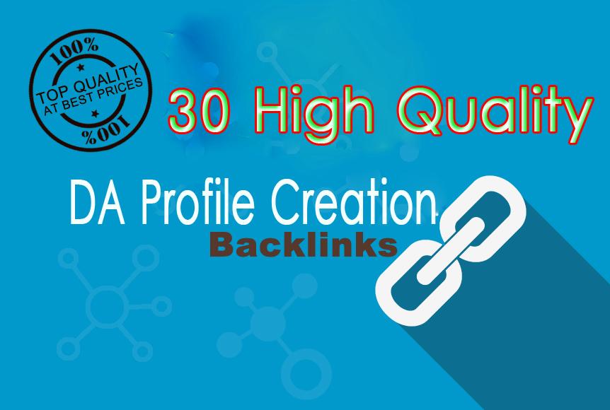 I will Creation 30 high profile DA backlinks