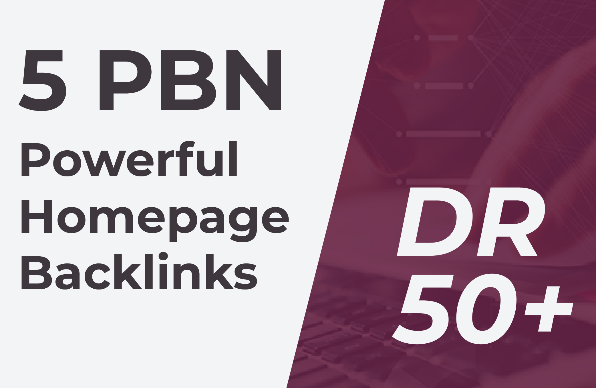 Build 5 PBN DR 50+ permanent Powerful Homepage Backlinks