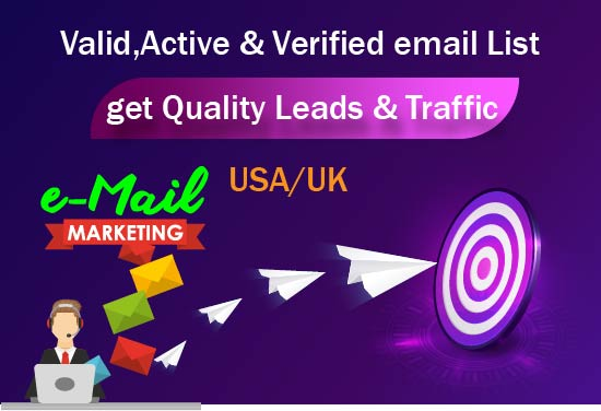 USA UK Targeted 2000+ Email list help you to reach your potential clients by email marketing
