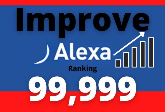 i will improve website USA Alexa ranking under 99K and global Alexa ranking under 999K