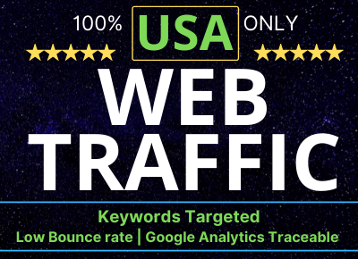 5000+ USA keyword targeted web traffic,  low bounce rate google analytics