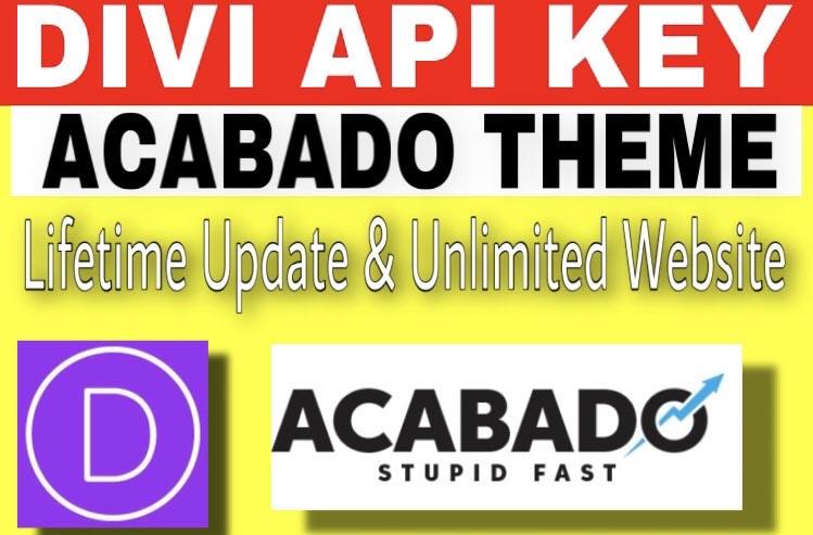 Install DIVI theme and Acabado theme for lifetime updates