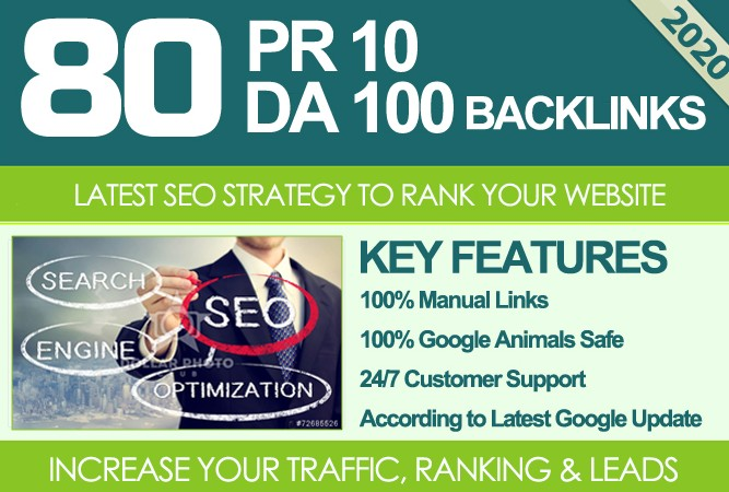 I Will MANUALLY Do 80 UNIQUE PR10 SEO BackIinks on DA100 sites Plus Links