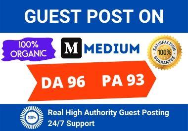 Write and Publish 2 High Quality Guest Post on MEDIUM. com DA 96.