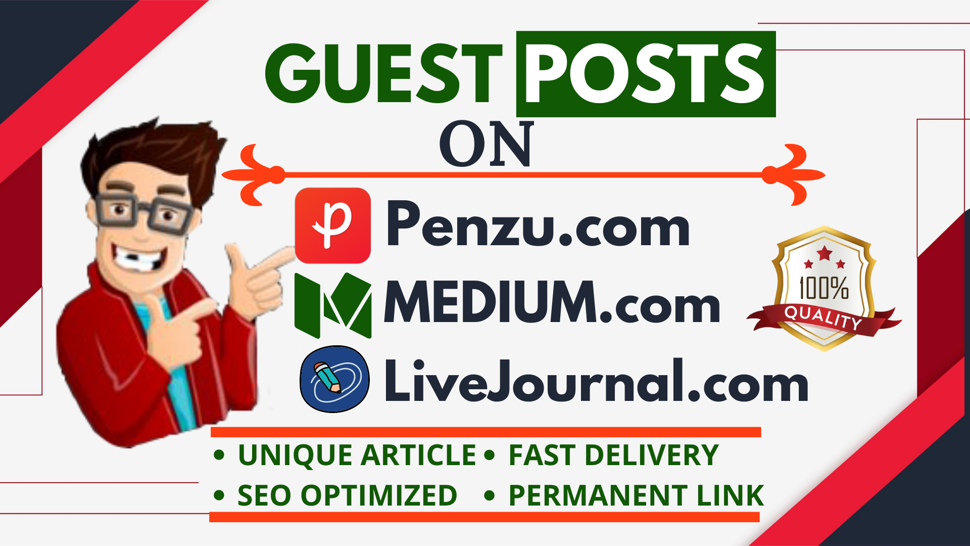 Write and Publish Guest Post Backlinks in Medium,  Livejournal and Penzu