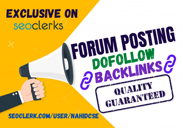 Manually 40 Forum Posting SEO Backlinks with High Traffic Site