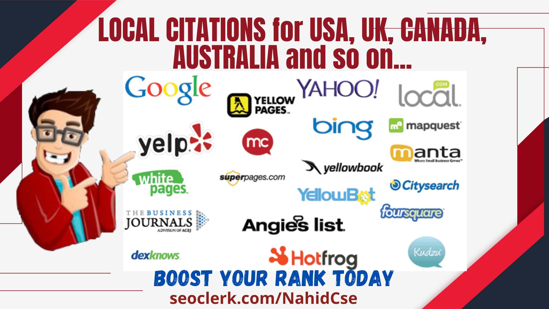 20 USA/UK/Australia/Canada Local Citation/Local Listing/Business Directory Submission manually