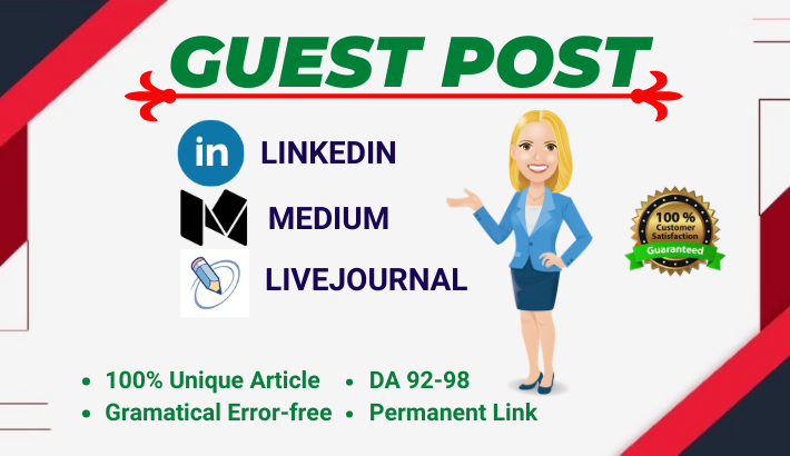 3 HQ Guest posts on Medium,  LinkedIn & LiveJournal all da 92+