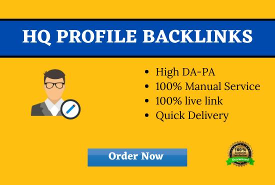 I will Create 100 Profile Backlinks Manually From High DA-PA Sites
