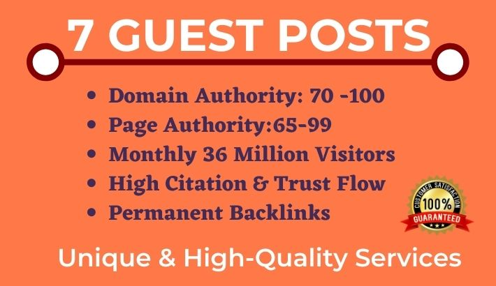 Write and Publish 7 Guest Post on High DR websites -DA 70+