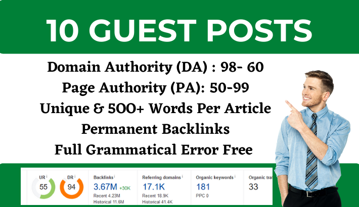 Write and Publish 10 Guest Post on DA 98 to 60 websites