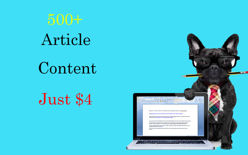 I will write 500+ words articles/content just 4 days