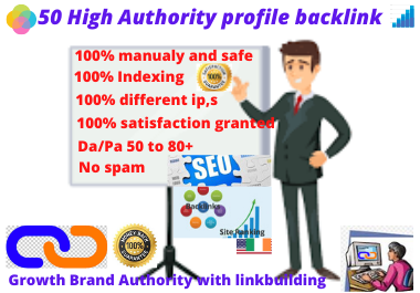 I will provide 50 high authority profile backlinks