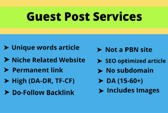 I will do high authority guest post outreach and backlinks