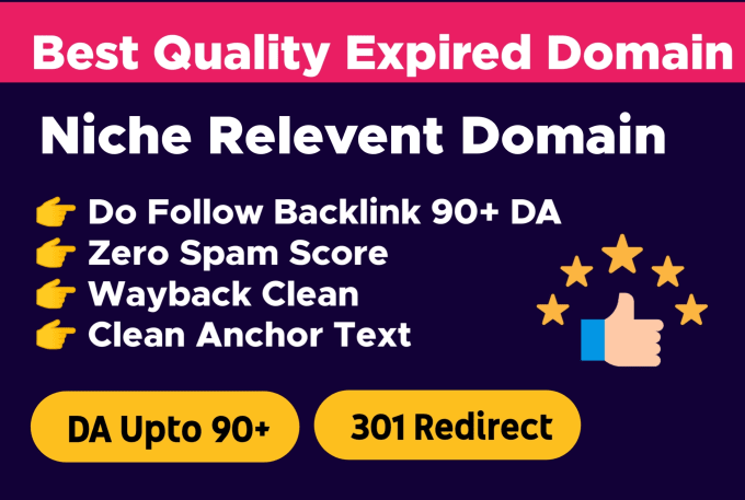 I will find niche relevant expired domain for 301 redirect