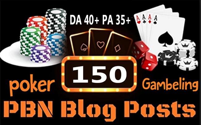 Poker/Casino/Gambling 150 web 2.0 PBN Dofollow Backlink Unique Sites DA 60+ PA 35+