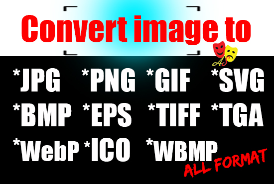Convert image to all format by jpg, png, gif, svg, bmp, eps, tiff, tga, webp, ico, wbmp etc.