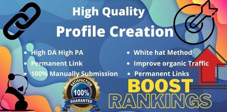 I will do 30 High Authority Social profile creation backlinks building