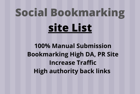 I Will Create Manually 50 Social Bookmarks Back link