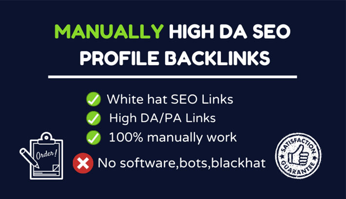I will do manually High DA SEO Profile Backlinks