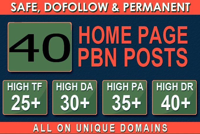 Construct 40+ Backlink with 30+ Da 35+ PA DOFOLLOW and Homepage pbn with 40+ extraordinary websile c